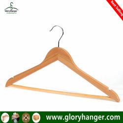 Un grade supérieur de gros de vêtements en bois Meubles Vêtement Hanger pour l'homme avec la barre de suspension (GLWH003)