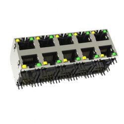 Dos puertos de 2X5 Conector PCB RJ45 con LED