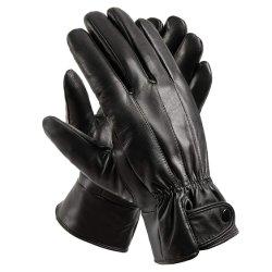 Les hommes d'hiver en cuir véritable de la conduite moto les gants en cuir à chaud