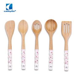 Vendita Calda Manico In Ceramica Utensili Da Cucina Bamboo Set Utensili Da Cucina
