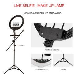 Volante regulável Selfie telemóveis com câmara de vídeo Fotografia Photography espelho com Kit de Suporte de Retaguarda Tripés Circle Encher luz circular LED