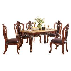 Классический мраморный обеденный стол с кожаным диваном кресло для дома Мебель