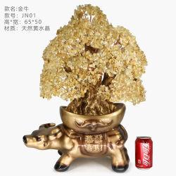 Oficina Regalos Decoración de cristal de cuarzo citrino Tauro Bonsai de piedras preciosas de árbol de la Suerte