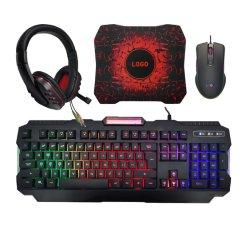 Spitzenverkaufenverdrahtete Baclit Tastatur-Mäusekopfhörer-Spiel-Tastatur und Maus für Gamers