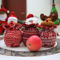 Weihnachtsdekoration-Verzierung-Süßigkeit-Verpackung gestrickte Appledrawstring-Geschenk-Beutel