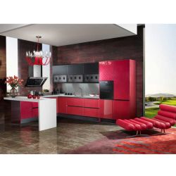 Mobilia acrilica lucida rossa su ordinazione della cucina (OP13-077)
