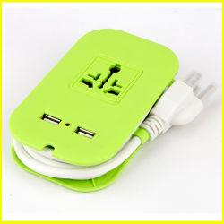 형식 녹색 작은 휴대용 다기능 USB 연장 소켓