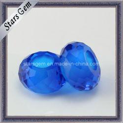 Beau bleu perle ronde avec le trou de pierres synthétiques