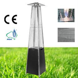 Tube en verre de gaz de la pyramide de plein air Chauffage de terrasse (acier, noir)