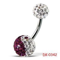 Dk-0342 Crystal Stone Ball con Surgical Steel Belly Button Ring Jewelry Body Piercing Jewelry