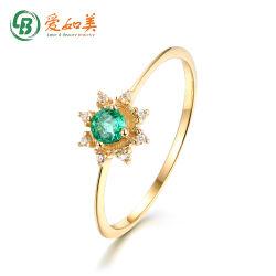 Buona qualità 14K 18K Gold forma anello sole fine Signore Anello smeraldo in oro massiccio