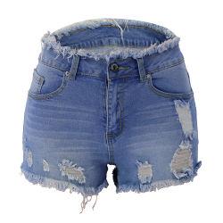 Womens Ripped Jeans Shorts mediados de la cintura de corte corto Sexy angustiados desgaste diario Esg13542