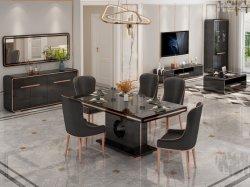 O MDF em aço inoxidável sala de jantar de vidro Conjunto de mesa e cadeira de vidro temperado de Turismo Moderno mobiliário doméstico