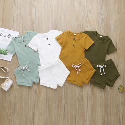 여자 아기 아이 아이들을%s 주문을 받아서 만들어진 여름 고품질 면 폴리에스테 상단과 바닥 형식 고정되는 순수한 색깔은 착용 옷을 냉각한다