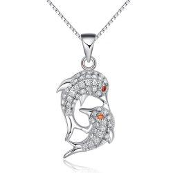 De echte Zilveren Dubbele Tegenhanger van het Kristal van CZ van de Moeder en van de Baby van de Dolfijn