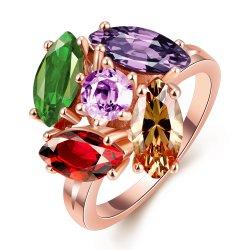 Buitenlandse High Design Rose Gold Plated Ring Kleurrijke Zircon Ring Fashion Jewelry