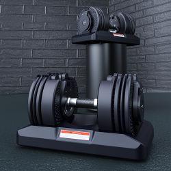 Bouilloire en caoutchouc Hex Bell Fitness Salle de gym tout acier Poids de gros de la formation de vinyle en néoprène peint en noir Haltère réglable