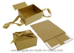 Boîte d'emballage rigide pliable livre Boîte d'expédition magnétique pliable imprimé personnalisé Kraft boîte cadeau de pliage à plat avec la fermeture du ruban