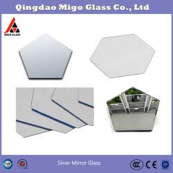 米国国防総省銀製ミラーガラス、ミラーの装飾的なミラーかセンターピースミラーのミラーの蝋燭の皿としてセットされる六角形ミラー