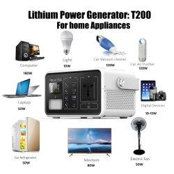 222wh draagbare Krachtcentrale, het Zonne Navulbare Pak van de Batterij, 110V 200W AC, 12V gelijkstroom Carport die, het Zuivere Alternatief van de Generator van de Golf van de Sinus QC3.0 USB voor naar huis Gebruik kamperen