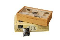 Marron clair ressenti bordée cadeau de thé en bois de la poitrine avec fenêtre, affichage de stockage des boîtes de thé en bois, Emballage de cadeau boîtes de thé en bois et le grossiste en usine