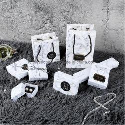 Ornamentos de grãos em mármore Embalagem Retro Colar Anel Brincos Caixa de jóias