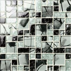 Mistura de xadrez preto e branco Mosaico Mosaico de vidro cristal
