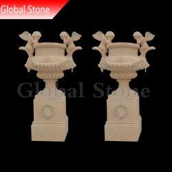 Plantadeira de mármore mobiliário de jardim Flower Pot com Angel Escultura (SPG-204)