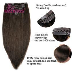 Clip en Extensiones de pelo humano Negro 20inch Real Cabello Clip En Extensiones Color 1b# de Black Real Hair Extensions 100gram 7PCS