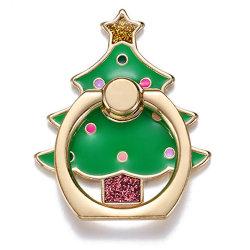Christma Teléfono móvil de forma de árbol porta anillo ajustable de rotación de 360 Teléfono Móvil de metal del anillo de dedo titular para la Navidad 2020