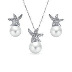 Starfish 925 Bijoux en argent avec l'eau douce Perle défini