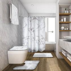 3D는 샤워 커튼과 양탄자 폴리에스테 목욕탕을%s 방수 대리석 샤워 커튼을%s 가진 목욕탕 목욕탕 세트를 디자인했다