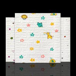 El patrón de dibujos animados 3D de diseños de papel tapiz de ladrillo de papel de pared para habitación niños