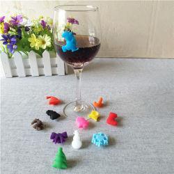 다채로운 재사용할 수 있는 실리콘 포도주 잔 마커, 선전용 선물 지팡이 실리콘 음료 포도주 잔 마커