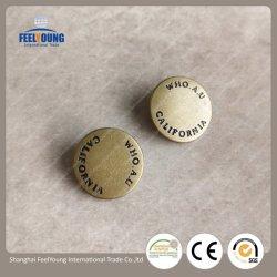 衣類のための装飾的な円形の刻まれた真鍮のカスタム金属の急な締める物急なボタン