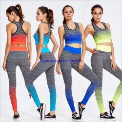 Les femmes de l'été Salle de Gym Sports Active Wear Sexy transparente Ombre rayures usure de Yoga de conditionnement physique