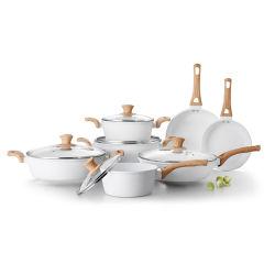 12ПК повредить антипригарное покрытие белой керамической поддельных посуда для приготовления пищи,
