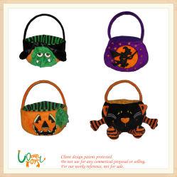 Plüsch angefüllter Halloween-Kürbis-Speicher-Süßigkeit-Korb scherzt Kind-Spielzeug