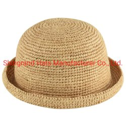 高品質手のかぎ針編みのRaffiaのわらは帽子をからかう