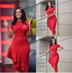 Colore solido di alta qualità calda di stile più il vestito sottile dal pannello esterno della matita di formato per le donne africane