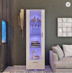 Moderna unità di visualizzazione LED acrilica alta lucida bianca Ripiani in vetro Mobili 190 cm