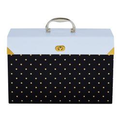Hot Sale 19 Bouton organe multicouche Folde élargir Wallet Sac Pochette porte-document, Boîte de rangement avec une poignée de Design de mode noir