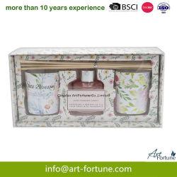 香りの香水オイルのリード拡散器のギフトはギフト用の箱の香料入りの蝋燭とセットした