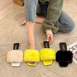 Groothandel Hot Sale Fashion Plush Slide Sandalen voor Vrouw binnenshuis Slippers