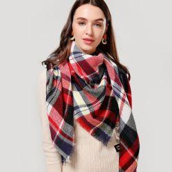 Design 2020 Mulheres Mola de malha Plaid inverno quente cachecóis Cashmere Xailes Pashmina lenço de Cintagem