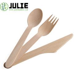 La nourriture communiquant avec le grade de haute qualité hygiénique en bouleau naturel couteau cuillère de fourche 160mm