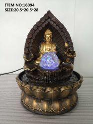 Hot vender Mini Feng Shui Decoración de Interiores Mesa Polyresin Buda de resina de fuente de agua