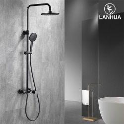 Europäischer LuxuxWras schwarzer Badezimmer-Bad-Wanne-Mattregen-Messingwasser-Hahn-Mischer-Dusche-Set