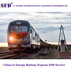 سكة حديد الصين السريعة من شينزين الصينية إلى بولندا/المجر/بلجيكا/ألمانيا/فرنسا بالسكة الحديد تدريب DDP إلى الباب