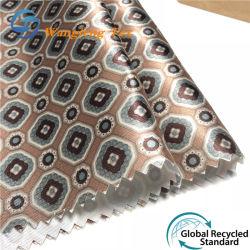 100% ha riciclato il poli raso 75D stampato allineando il tessuto per il vestito